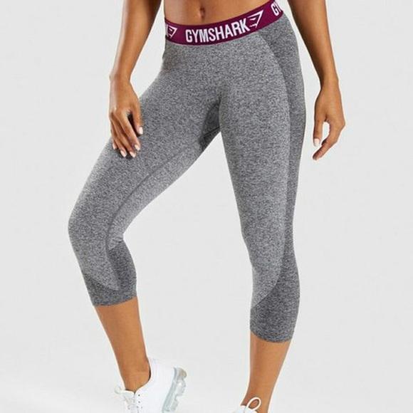 Gymshark Flex Charcoal/Deep Plum Cropped Leggings